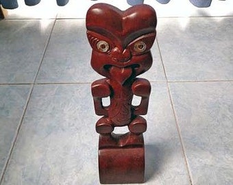 Wood Tiki carving statue. W55