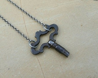 Vintage clock key necklace