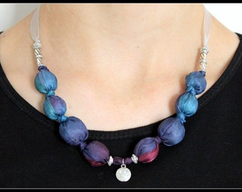 Chunky necklace / Girls fabric necklace / Beaded necklace / Textile necklace / Hand-dyed silk with charm