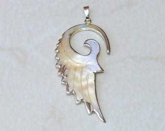 Seashell Pendant - Wing Pendant - Carved Sea Shell Pendant  - Gold Edge - 32mm x 63mm