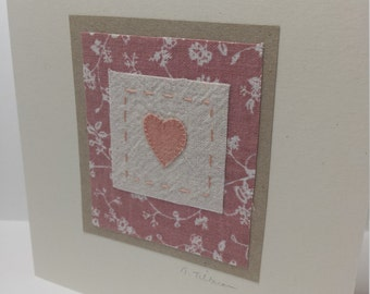 Laura Ashley card - textile art 'heart' fabric card with Vintage Laura Ashley fabric
