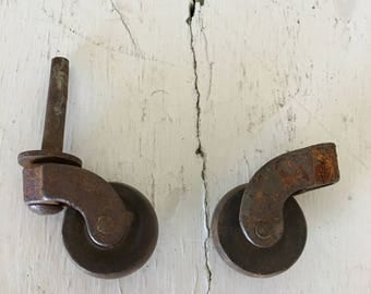 Industrial Caster Hardware, Vintage Hardware, Vintage Casters, Set of Two Casters, Vintage Wheels, Metal Caster Wheels, Mounted Casters