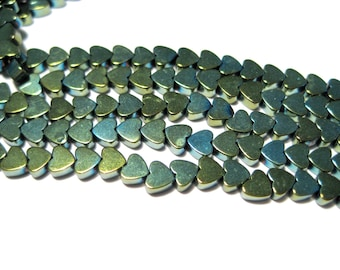 1 Strand Small Iris Green  Heart Hematite Beads Non-magnetic 6mm stone beads