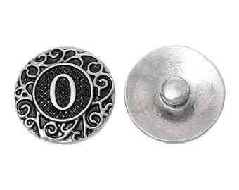 "19mm Antique Silver Alphabet /Letter ""O"" Snap Button Charms Knob Size: 5.5mm( 2/8"")"