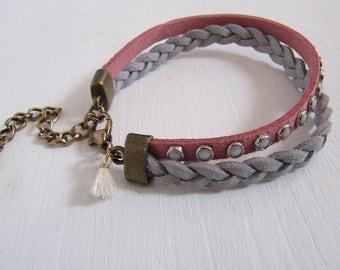 Boho Style Kunstlederarmband mit Bommel und Nieten