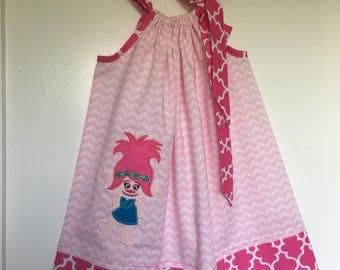 Custom Made Pillowcase Dress Light pink  w/ Poppy Trolls Machine Embroidered Applique And Hotpink Quatrefoil Hem & Ribbon-Sizes NB-8 y/o
