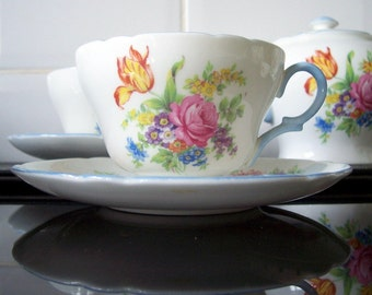 Vintage Shelley China Cup and Saucer Floral Bouquet pink roses blue yellow purple and white flowers