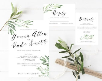 Printable Olive Leaves Wedding Invitation Suite, Olive Branch Invite Template, Greenery invitation, Romantic, Whimsical, Botanical