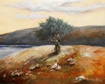 Olive tree painting, Landscape painting  Tree acrylic painting