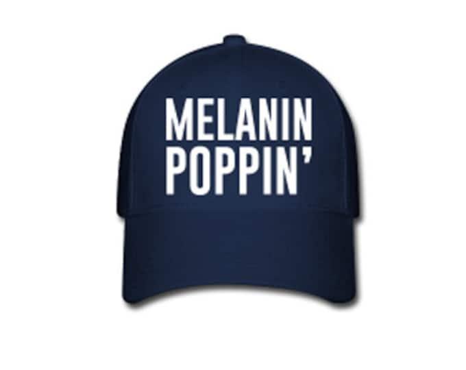 Melanin Poppin' Flex Fit Baseball Cap - Blue