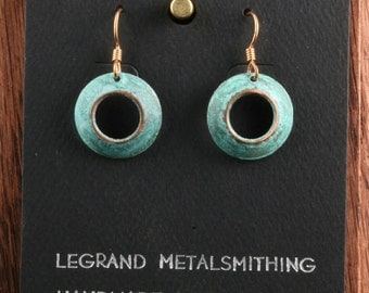 Annulus disk earrings, copper, patina