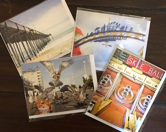 4-Pack of Ocean City Maryland Photo Greeting Cards - Seagulls w/ French Fries, Skee Ball, Fishing Pier, & Boardwalk Sign - Travel Photograph