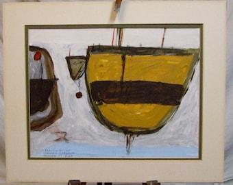 St Ives School original painting Boats follower Roger Hilton Signed framed art Worldwide freight   оригинальные произведения искусства