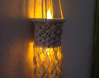 Bedroom lights Boho hanging lighting Baby night light LED light candles Macrame wall hanging Boho macrame Nursery gifts Hanging lantern gift