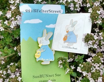Sun-BUN-net Sue Pin and Sticker, Sunbonnet Sue Bunny soft enamel pin SunBUNnet Sue Pin with Matching Sticker