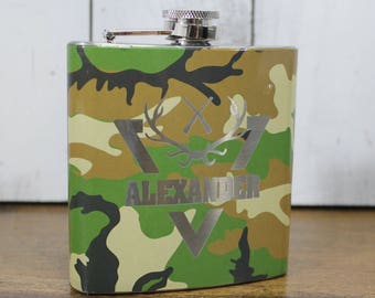 Flask/Camouflage/Hunting/Fishing/Father's Day Gift/Groomsman/Birthday