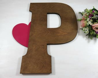Wood Wedding Letter - Wedding Decor - Wall Hanging Letter - Big Large Initial - Letters for Nursery - Wedding Guest Book - Home Decor - Gift