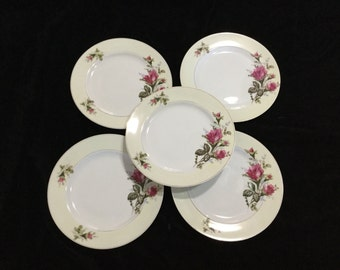 Moss Rose Made in Japan Set of 5 Salad or Side Plates Vintage 50's Mid century