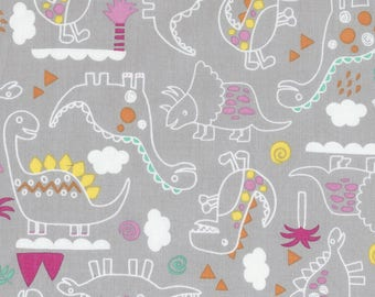 Outlined Dinosaurs Fabric; You Choose Size; C5602 Timeless Treasures Dino-Mite; Novelty Fabric; T-Rex, Stegosaurus, Brontosaurus