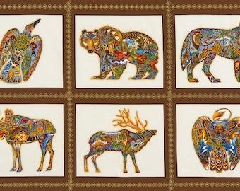 Robert Kaufman Animal Spirits 2 Earth Animal Spirits Panel Blocks with Metallic Fabric AUAM-15820-169