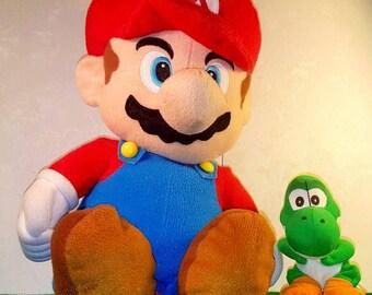 "Nintendo SUPER MARIO BROTHERS ""Mario"" Backpack and Yoshi Plush Dinosaur!"