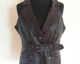 Vintage 80s Womens Brown Leather Vest (XX Large Size)