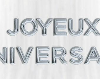 """Giant JOYEUX ANNIVERSAIRE  silver foil balloon  16""""  gold birthday party fun decoration"""