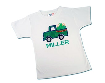 Boy St Patrick's Day Shamrock Truck Shirt with Embroidered Name