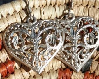 Sterling Silver Dangle Heart Earrings