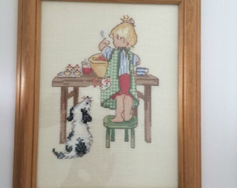 Framed Needle Point Picture, Baby Room Decor