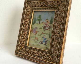 Mughal Hand Painted Picture/Inlaid Wooden Frame