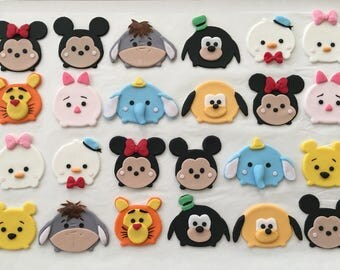 12 Tsum Tsum fondant cupcake toppers