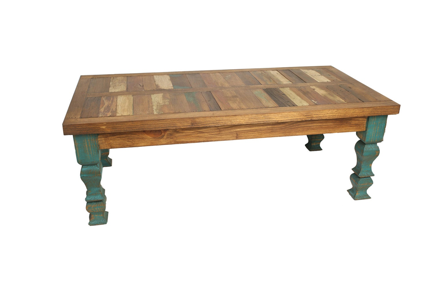 Reclaimed Wood Turquoise Coffee Table 48l X 24w X 17h