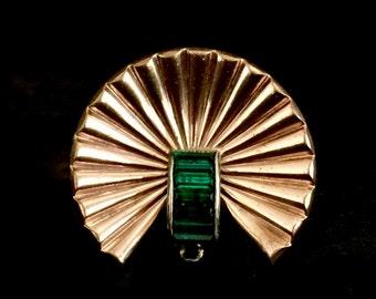 Antique emerald crystals gold plated fur dress clip pin
