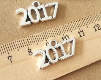 """20pcs 24x12mm  Antique Silver """"2017"""" Pendant, 2017 number Charm  ABZ015"""