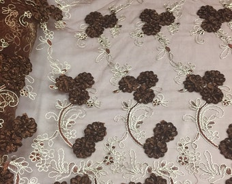 Brown enchanted 3D flowers embroider on a mesh lace -yard