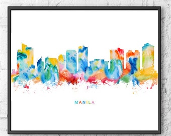 Manila print, city poster, wall art, Manila skyline, Philippines art, travel print, travel poster, colorful watercolor print - S41