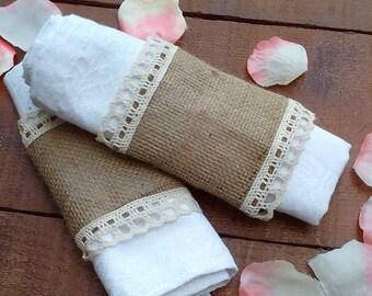 Burlap Napkin Holder - Burlap and Lace Napkin Holder - Burlap Napkin Ring Holder - Wedding Napkin Holder  - Rustic Table Decor - Choose Qty