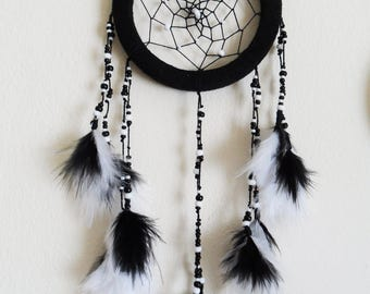 Dream Catcher - Boho Dreamcatcher - Bedroom Decor - Black and White Feathers