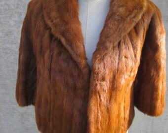 Gorgeous Vintage Auburn  Mink Fur Cape Capelet Stole, Tropical Furs St Petersburg Fla