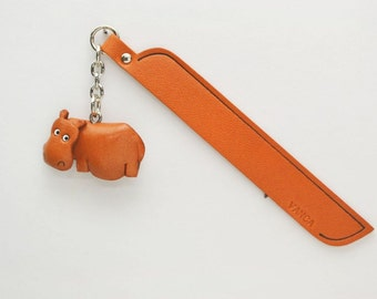 Hippopotamus Leather Charm Bookmark/Bookmarks/Bookmarker *VANCA* Made in Japan #61208 Free Shipping