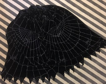 """Dress up cape 50"""" lightweight black velour with silver glittered pattern / black satin blanket ties"""