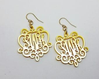 Gold Acrylic Monogram Earrings