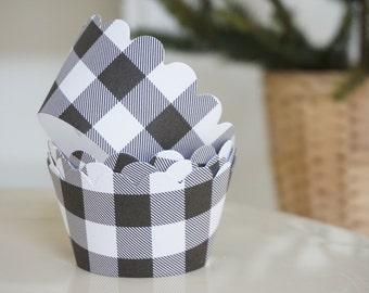 BLACK & WHITE PLAID Cupcake Wrappers - Set of 24 - Lumberjack First Birthday