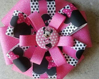 MINNIE MOUSE Hair Bow - 4 inch stacked ribbon style with decorative button center