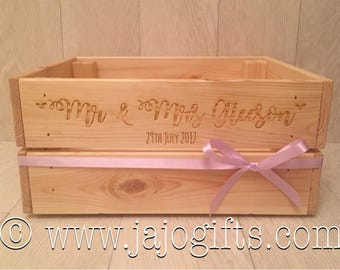 Personalised engraved wedding crate made from solid pine wood gift keepsake