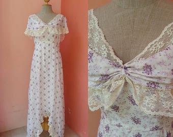 Prairie Dress 70s Maxi Dress Boho Dress Hippie Dress Bohemian Dress 1970s Maxi Dress White Cotton Maxi Dress Purple Floral Dress Size M