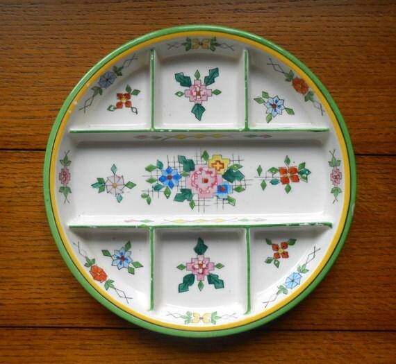 Moriyama 7 Way Division Handpainted Relish Dish 1920's Japanese Pottery Floral Design