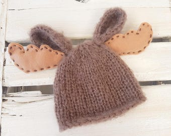 Baby Moose hat  - newborn deer hat - newborn buck hat - baby moose beanie - baby deer beanie - baby animal hat - photo prop hat. UK seller