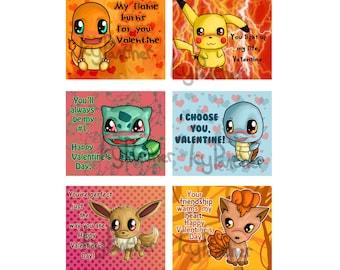 Pokemon Valentine Pokemon Valentine's Day Pokemon Valentine Cards - Set of 24 or 36 (6 Designs)